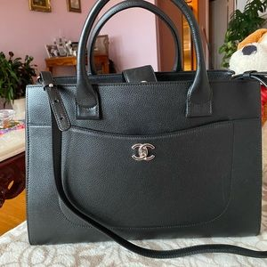 New! Chanel black neo executive tote large